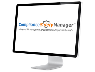 The compliance safety manager tool is shown as a screenshot on a desktop.